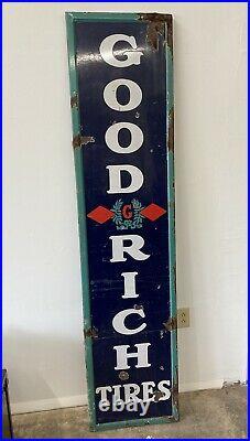 Rare Large Vintage 1930s Goodrich Tires Gas Station Vertical Porcelain Sign
