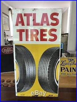 Rare Original Vintage/Antique Atlas Tires Sign