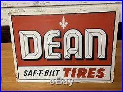 Rare Vintage DEAN TIRES Metal Sign Gas Oil Large 42x30 Metal Sign