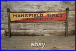 Rare Vintage Early MANSFIELD TIRES DS Metal Painted Display Sign Gas & Oil