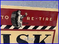 Rare Vintage Fisk Time To Re-tire Dealer Display Sign Gas Oil Boy Garage Ford