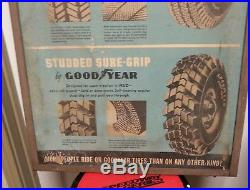 Rare Vintage GOODYEAR Tires Winged Foot Double Sided Cardboard Sign Metal Frame