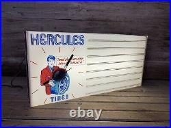 Rare Vintage HERCULES TIRES Lighted Plastic Dealer Advertising Clock Sign