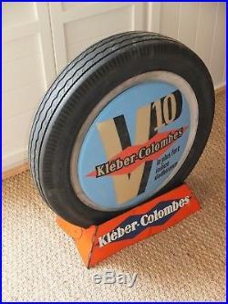Rare Vintage Kleber Tyre Display Stand. Illuminated Garage Advertising Sign