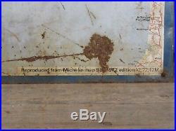 Rare Vintage Michelin Tin Litho Map Sign UK England Ferrari Porsche