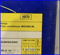 Rare Vintage Michelin Tire Man Sign French Tire Pressure chart ORIGINAL 1971