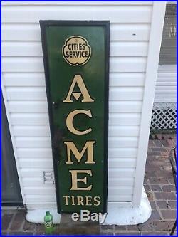 Rare Vintage Original 1937 Cities Service Oil Gas Metal Vertical Acme Tires Sign