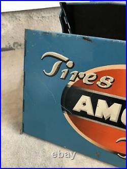 Rare Vintage Original Amoco Tubes Blue TIRE Metal Display Stand Sign Gas & Oil