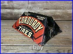 Rare Vintage Original CORDUROY TIRES DS Metal Display Stand Sign Gas & Oil