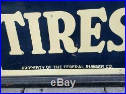 Rare Vintage Original FEDERAL TIRES Sign with Wood Frame