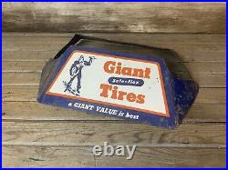 Rare Vintage Original GIANT TIRES Holding Automobile DS Display Stand Sign