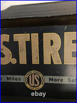 Rare Vintage Original U. S. United States TIRE Metal Display Stand Sign Gas & Oil