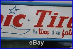 Rare Vintage Sonic Tires Embossed Metal Sign Gas Oil Coke Texas Ford