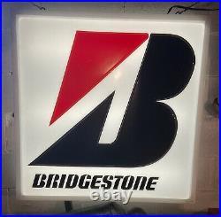 Rare vintage original lighted bridgestone tire dealer sign double sided 34x34