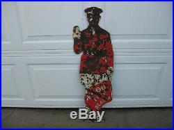 SUPER RARE Vintage 1920s HOOD TIRE DEALER Porcelain 35-1/2 Tall Figural Man Sign