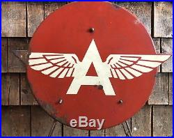 Ultra Rare Vintage Die Cut FLYING A Tydol Veedol Service Station Tire Sign Stand