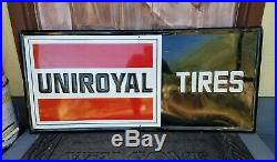 V Good Original Vintage Embossed Tin Metal Uniroyal Tires Sign Gas Oil 40 x 18