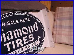 VC Vintage Concepts Diamond Tires Flange Porcelain Sign Gas Oil Garage