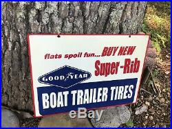 VINTAGE 1960'S GOODYEAR BOAT TRAILER TIRES METAL RACK SIGN (16.5x 12)
