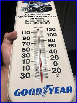 VINTAGE 1970s Goodyear Tires Pit Stop Service Advertising Thermometer Sign Rare