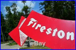 VINTAGE 50's FIRESTONE SUPREME TIRES & RUBBER DIECUT FLAG SIGN NICE COLLECTABLE