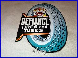 VINTAGE DEFIANCE TIRES AND TUBES With TIGER DIECUT 12 METAL GASOLINE & OIL SIGN