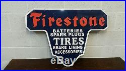 VINTAGE DIE CUT STEEL FIRESTONE TIRES AND BATTERIES SIGN 36 by 25 INCHES