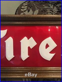 VINTAGE FIRESTONE TIRE EMBOSSED SIGN GASOLINE PETROL on WOOD FRAME 48
