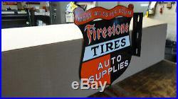 VINTAGE FIRESTONE TIRES AUTO SUPPLIES FLANGE PORCELAIN SIGN 16 inch