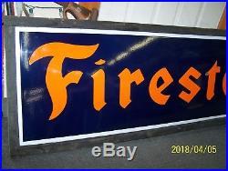 VINTAGE FIRESTONE TIRES PORCELAIN SIGN BY ING-RICH IN ORIGINAL FRAME 74 x 23
