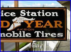VINTAGE GOOD YEAR TIRES PORCELAIN SIGN 35-1/2x 11-3/4 SERVICE STATION OIL GAS