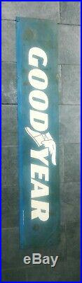 VINTAGE GOODYEAR TIRES PORCELAIN SIGN DOUBLE SIDED1973 stamp 66inches long