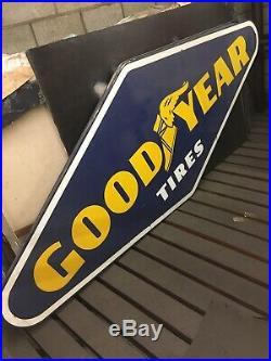 VINTAGE GOODYEAR TIRES SERVICE DEALER PORCELAIN STEEL SIGN 4 ft x 10 ft LARGE