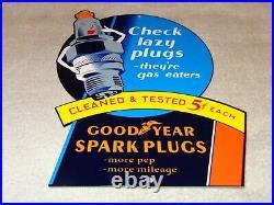 VINTAGE GOODYEAR With YAWNIG SPARK PLUG 12 METAL TIRES, GASOLINE & OIL SIGN PLUGS