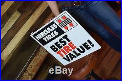 VINTAGE Hercules Tires sign 2 sided flange Gas Oil Station Advertising 1980's