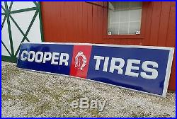 VINTAGE LARGE ORIGINAL COOPER TIRES SIGN 13-FEET 60's RARE NICE OLD SIGN