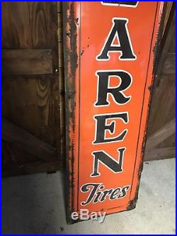 VINTAGE Large VERTICAL McCLAREN Porcelain Tires Metal Sign Rare 84x21 Gas Oil