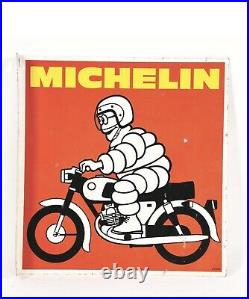 VINTAGE MICHELIN MOTORCYCLE TIRES TIN FLANGE SIGN With MOTORCYCLE 100% AUTHENTIC
