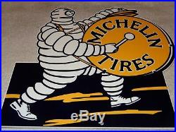 VINTAGE MICHELIN TIRES BIBENDUM TIRE MAN With DRUM 12 METAL GASOLINE & OIL SIGN