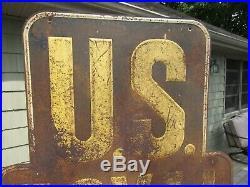 VINTAGE ORIGINAL 1910 -1930's US ROYAL TIRES SIGN EMBOSSED SIGN NO BULLET HOLES