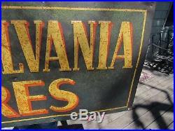 VINTAGE ORIGINAL 1920s PENNSYLVANIA TIRES HORIZONTAL TIN DEALER ADVERTISING SIGN