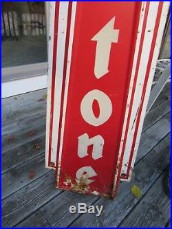 VINTAGE ORIGINAL 1930's 50's FIRESTONE TIRE SIGN RARE VERTICLE & REFLECTIVE PT
