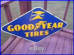 VINTAGE-ORIGINAL. 1940s GOODYEAR TIRE SIGN. DOUBLESIDED. PORCELAIN. 48X27-1/2