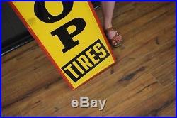 VINTAGE ORIGINAL Dunlop Tires sign tin 1957 Gas Station Oil Advertising NICE