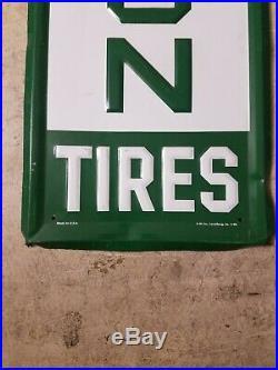 VINTAGE ORIGINAL REMINGTON TIRES SIGN EMBOSSED VERTICAL 60x14 Auto Parts