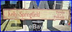 VINTAGE ORIGINAL c1911-1920's KELLY SPRINGFIELD TIRES DOUBLE SIDED WOOD SIGN