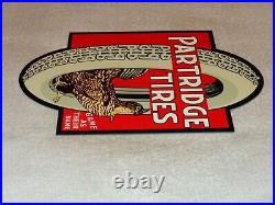 VINTAGE PARTRIDGE TIRES With HEN OR ROOSTER 12 METAL TIRE, GASOLINE & OIL SIGN