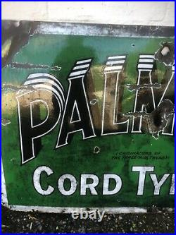 VINTAGE SIGN ENAMEL PALMER the three rib Tread CORD TYRE tyres