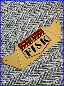 VINTAGE TIME TO RE-TIRE FISK TIRE YAWNING BOY 23x7.5 unique hanging metal sign
