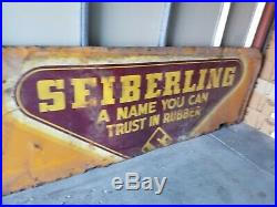 (VTG) 1950s Seiberling Tires Gas Station giant metal advertising Sign firestone